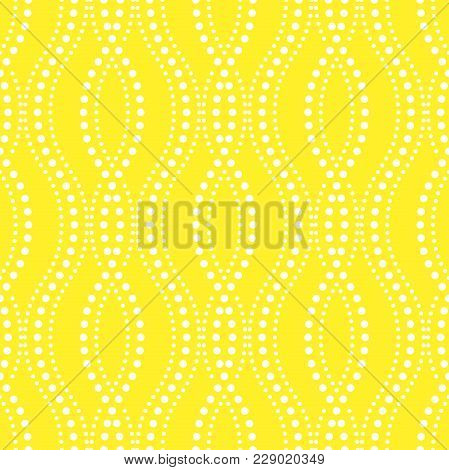 Abstract Geometric Pattern Of The Points, Lines. A Seamless Vector Background. Graphic Yellow And Wh