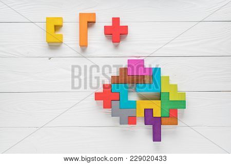 Human Brain Is Made Of Multi-colored Wooden Blocks. Creative Medical Or Business Concept. Logical Ta
