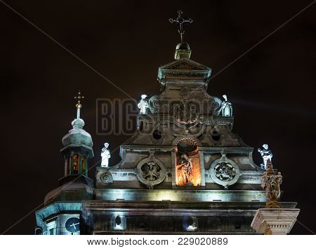 Night Winter Lviv City (ukraine) Illuminated Cityscape. Bernardine Church And Monastery (church Of S