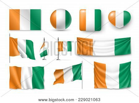 Set Ivory Coast Flags, Banners, Banners, Symbols, Realistic Icon
