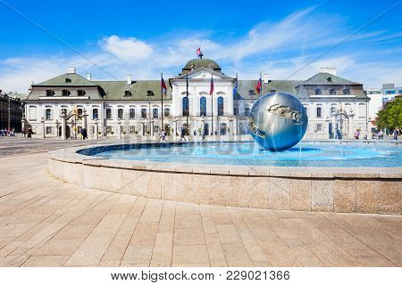 The Grassalkovich Palace Is A Palace In Bratislava And The Residence Of The President Of Slovakia. G