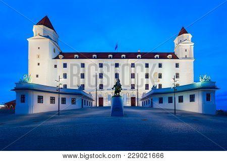 Bratislava Castle Or Bratislavsky Hrad Is The Main Castle Of Bratislava, Capital Of Slovakia At Suns