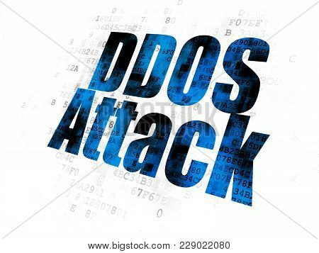 Privacy Concept: Pixelated Blue Text Ddos Attack On Digital Background
