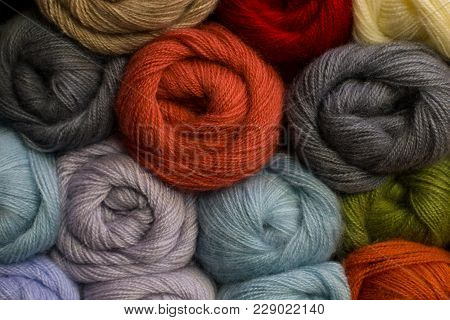 Knitting Needles, Colorful Threads. Selection Of Colorful Yarn Wool On Shopfront. Knitting Backgroun