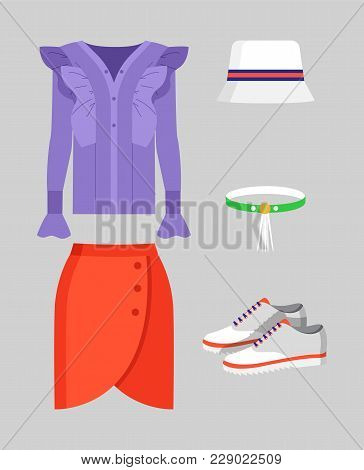 Set of stylish clothing for warm weather, poster isolated on grey backdrop, red skirt and lilac shirt, cute hat, choker and shoes, vector illustration poster