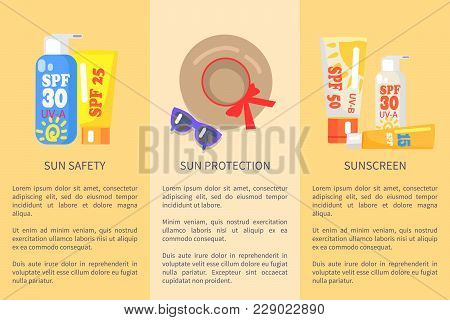 Beach Objects For Relaxation Vector Colorful Collection In Flat Design With Written Text Information