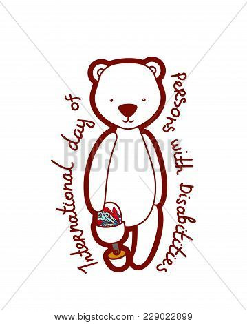 Card With A Disabled Blind Bear With Floral Pattern And Text International Day Of Persons With Disab