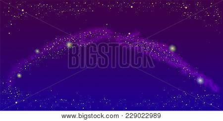 Milky Way On Night Sky Space Background Vector Illustration