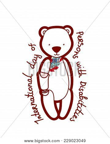 Card With A Disabled One Arm Bear With Floral Pattern And Text International Day Of Persons With Dis