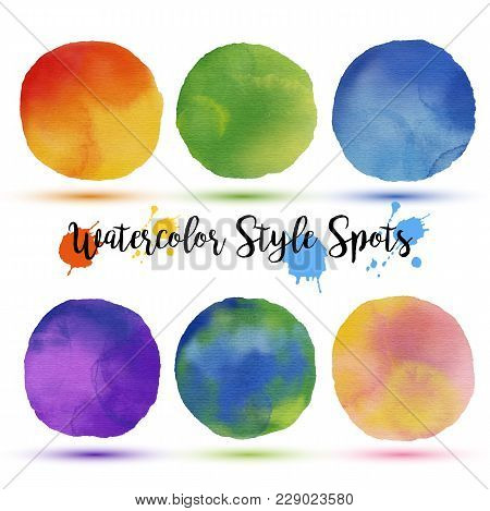 Colors Balls In Watercolor Style. Drawn On Ipad