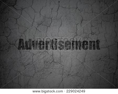 Advertising Concept: Black Advertisement On Grunge Textured Concrete Wall Background