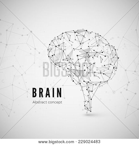 Graphic Concept Of The Brain. Technology And Science Background With Brain Icon. Brain Is Composed O