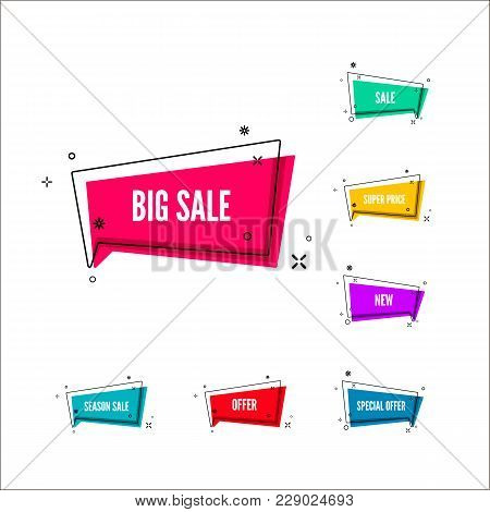 Business Offers Banner. Color Retail Lables. Colorful Bubble With Promotion Text. Set Of Geometric P