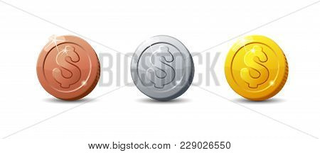 Icons Coins.set Of Cartoon Coin For Web, Game Or Interface. Vector Illustration Game Art. Dollar Iso