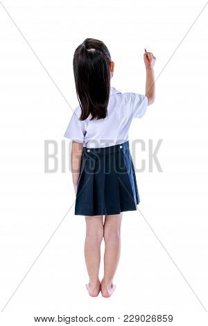 Full Body. Back View Of Young Preschool Child In Uniform. Asian Girl Writing Something With Red Cray