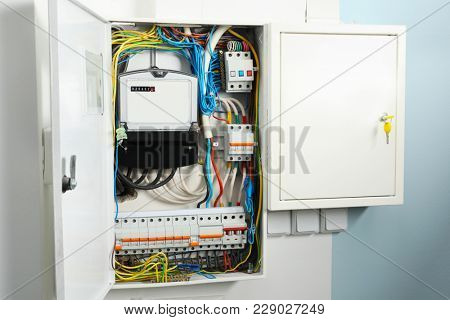 Distribution board on wall indoors