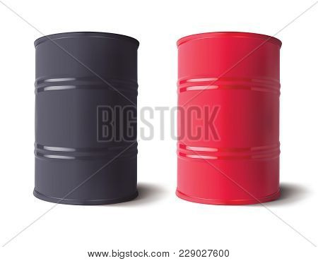 Oil Barrels Set. Vector Realistic 3d Illustration
