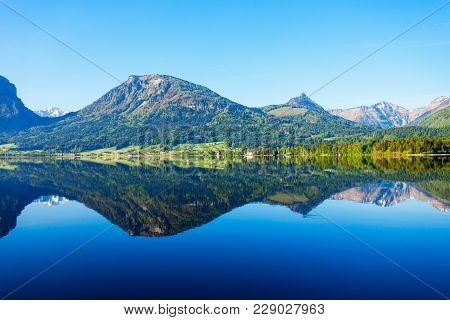 Wolfgangsee Lake In Austria. Wolfgangsee Is One Of The Best Known Lakes In The Salzkammergut Resort