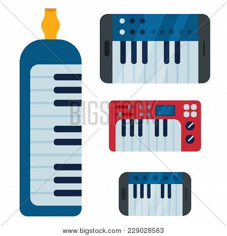 Keyboard Musical Instruments Isolated Classical Melody Studio Acoustic Shiny Musician Equipment And