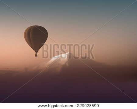 Silhouette Hot Air Balloon Flying Over The Mountains. Wonderful Landscape Mountain View Copyspace. A