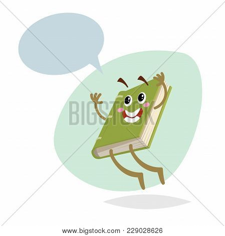 Cartoon Funny Green Jumping Book Mascot On Round Background. Dummy Speech Bubble. Wide Smile Charact