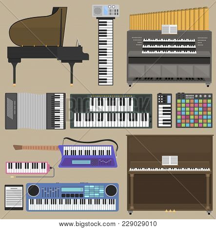 Piano Vector Keyboard Musical Instruments Isolated On Background Classical Melody Studio Acoustic Sh