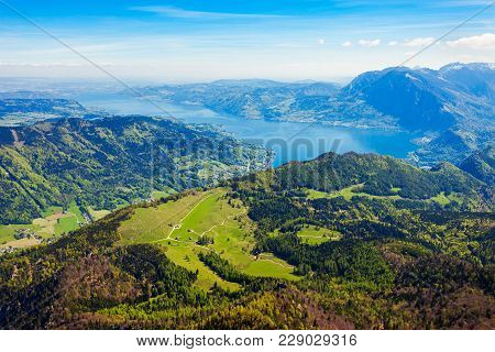 Attersee Lake Aerial Panoramic View From Schafberg Viewpoint, Upper Austria. Attersee Lake Located I