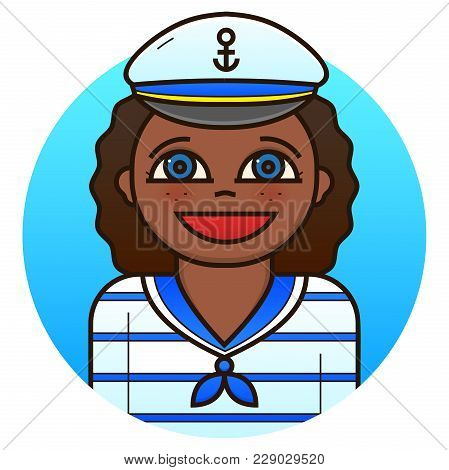 Smiling Woman Sailor In Stripes Uniform, Vector Illustration In Line Art Style