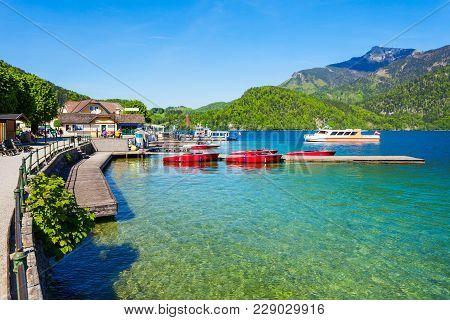 Embankment Promenade At The Wolfgangsee Lake In St Gilgen Village, Salzkammergut Region Of Austria