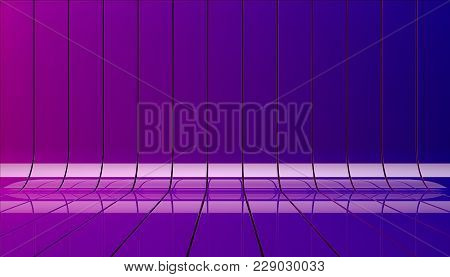 Color Ribbons Stage Background 3d Illustration. Background Stage As Template For Your Showcase.