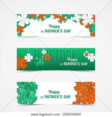 Set Of St Patrick's Day Vector Banners With Shamrock. Lucky Spring Symbol. Paper Clover Flowers In I