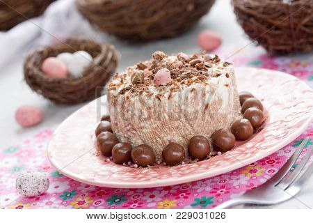 Easter Orthodox Quark Dessert With Chocolate On Pink Plate