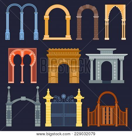 Arch Gate Vector House Exterior Design Architecture Construction Frame Classic, Column Structure Gat