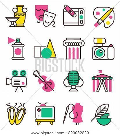 Vector Creation Art Graphic Icons Set Flat Design Illustration. Circus, Tv, Column, Picture, Palette