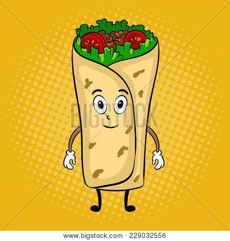 Burrito Cartoon Character Pop Art Retro Vector Illustration. Cartoon Food Character. Color Backgroun