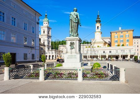 Mozart Monument Statue At The Mozartplatz Square In Salzburg, Austria. Wolfgang Amadeus Mozart Was A