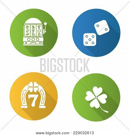Casino Flat Design Long Shadow Glyph Icons Set. Dice, Lucky Seven Game, Four Leaf Clover, Slot Machi