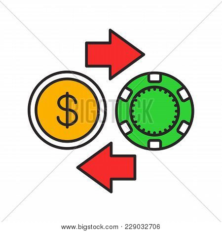 Gambling Chips And Cash Money Exchange Color Icon. Real Money Casino. Isolated Vector Illustration