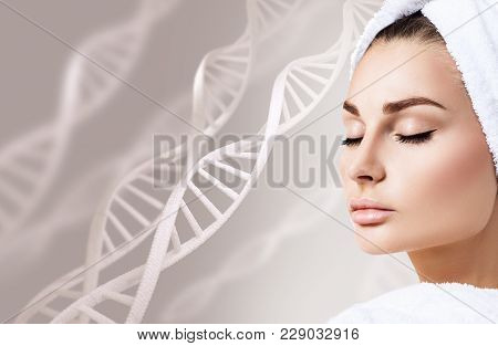 Portrait Of Sensual Woman Among Dna Chains Over Beige Background.
