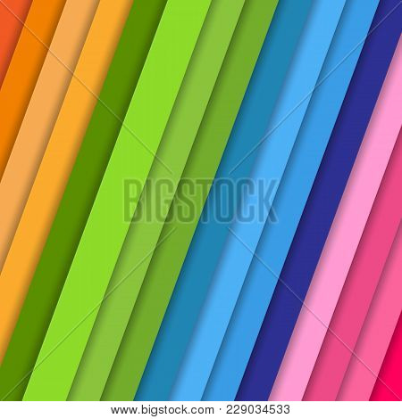 Inclined Vector Strips With Shadow Abstract Colorful Background Pattern In Violet Blue Pink Orange C