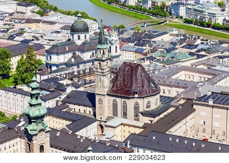 Salzburg Franciscan Church Aerial Panoramic View From Hohensalzburg Castle In Salzburg, Austria