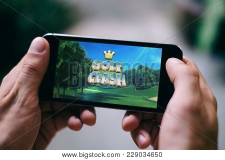Cologne, Germany - February 27, 2018: Golf Clash App Game Played On Apple Iphone