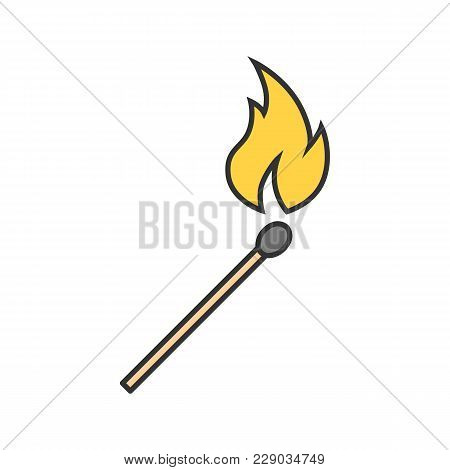 Burning Matchstick Color Icon. Arson. Isolated Vector Illustration