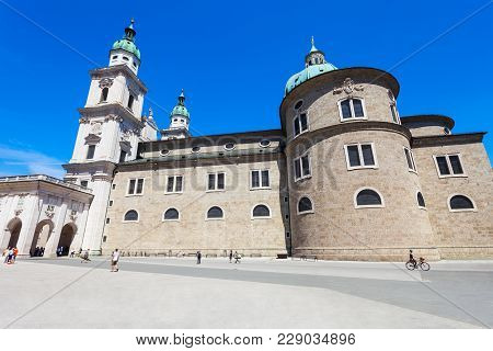 Salzburg Cathedral Or Salzburger Dom Is The 17-th Century Baroque Roman Catholic Church In Salzburg,