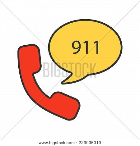 Emergency Calling Service Color Icon. Handset And Speech Bubble With 911 Number Inside. Isolated Vec