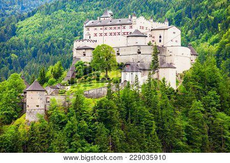 Hohenwerfen Castle Or Festung Hohenwerfen Is A Medieval Rock Castle Overlooking The Austrian Werfen
