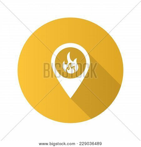 Fire Location Flat Design Long Shadow Glyph Icon. Map Pinpoint With Flame Inside. Vector Silhouette