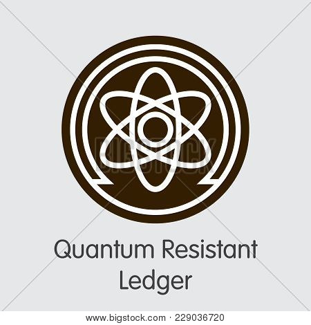 Quantum Resistant Ledger. Cryptocurrency. Qrl Colored Logo Isolated On Grey Background. Stock Vector