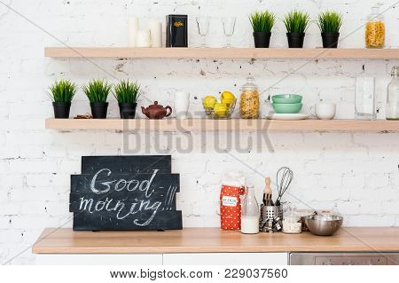 "Morning Kitchen With Plate ""good Morning!""."