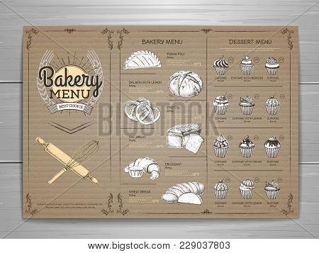 Vintage Bakery Menu Design On Cardboard Background. Restaurant Menu